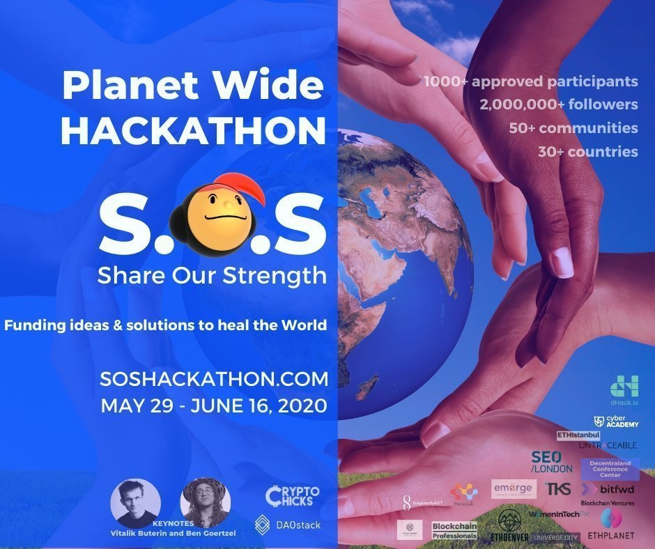 Planet Wide SOS Hackathon is raising $100,000 on blockchain to fund ideas to heal the world
